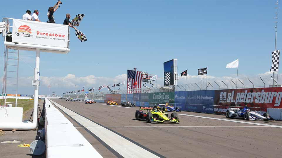 Sebastien Bourdais takes the checkered flag at the 2018 Firestone Grand Prix of St. Petersburg