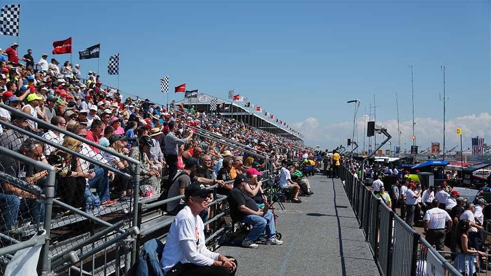 Full grandstands along the front stretch of the Firestone Grand Prix of St. Petersburg