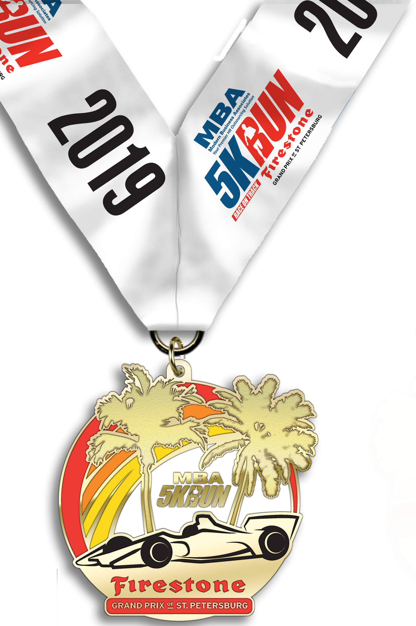 MBA 5K Run on the Firestone Grand Prix of St. Petersburg track finisher's medal